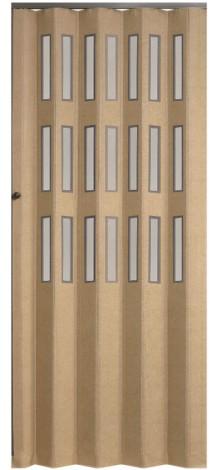 Koženkové shrnovací dveře béžové prosklené 83x200cm