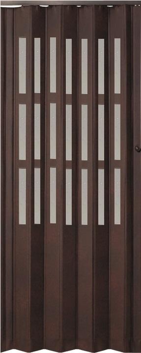 Koženkové shrnovací dveře tmavé hnědé prosklené 83x200cm