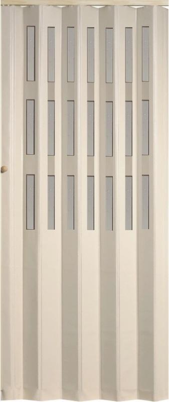 Koženkové shrnovací dveře bílé prosklené 83x200cm