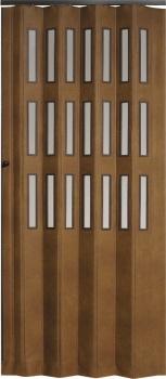 Koženkové shrnovací dveře hnědé prosklené 83x200cm