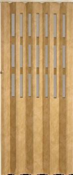 Koženkové shrnovací dveře světle hnědá prosklené 83x200cm
